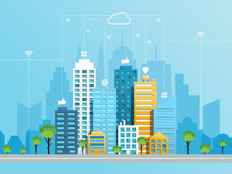 Social networking city concept. With modern cityscape and like heart at hashtag symbols moving from buildings to cloud using wifi. Vector illustration royalty free illustration