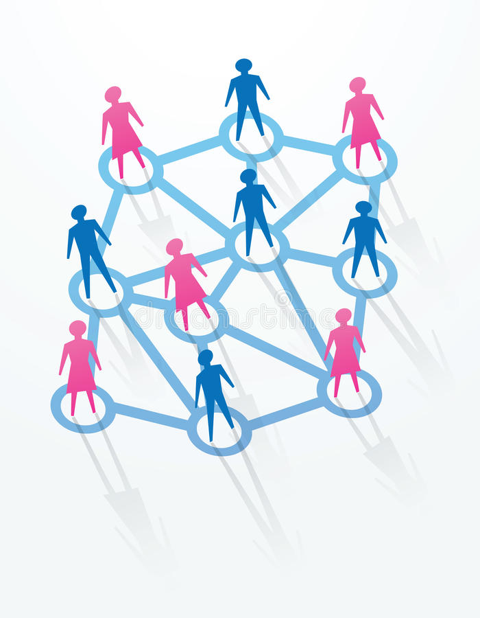 Social and networking concepts. Man and woman paper cutout people sihouettes, with connections with everyone stock illustration