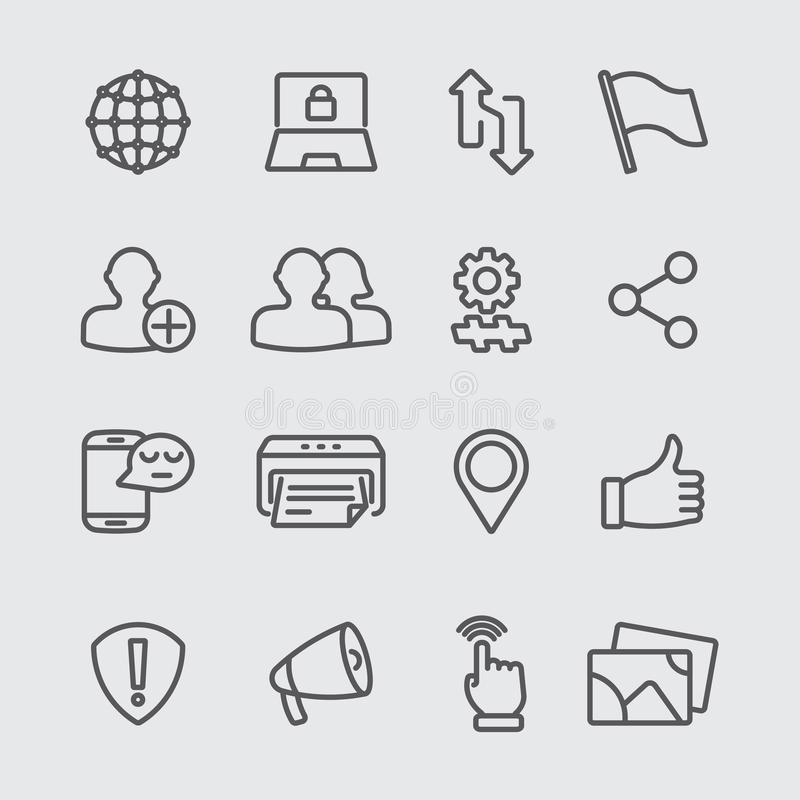 Social networking line icon stock illustration