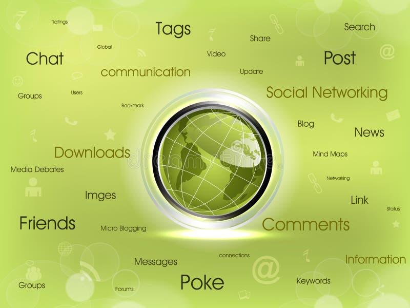 Social networking map diagram. Social networking map diagram with shiny globe and networking icon.Vector Eps 10 royalty free illustration