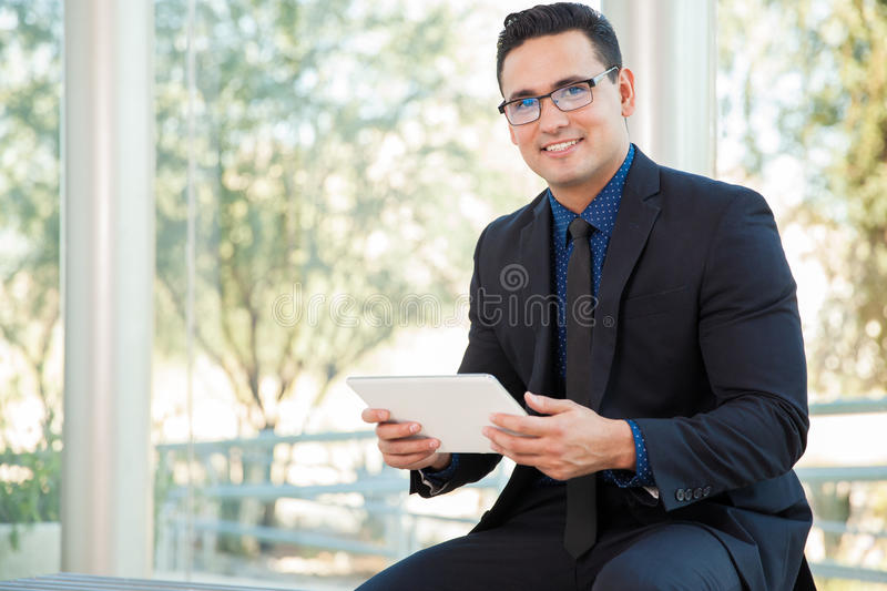 Social networking at work stock photography
