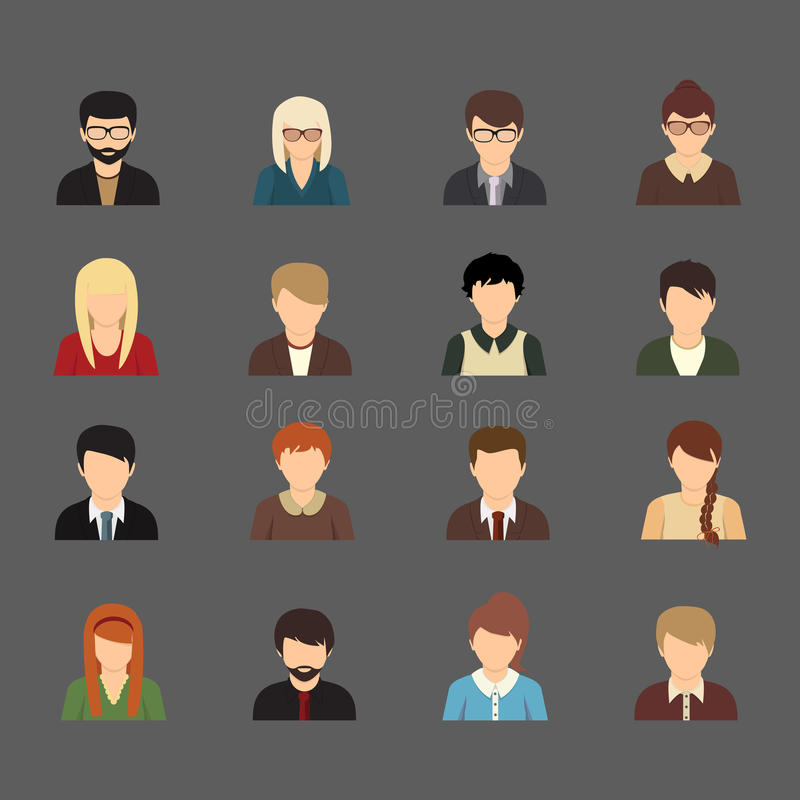 Social networks business private users avatar vector illustration
