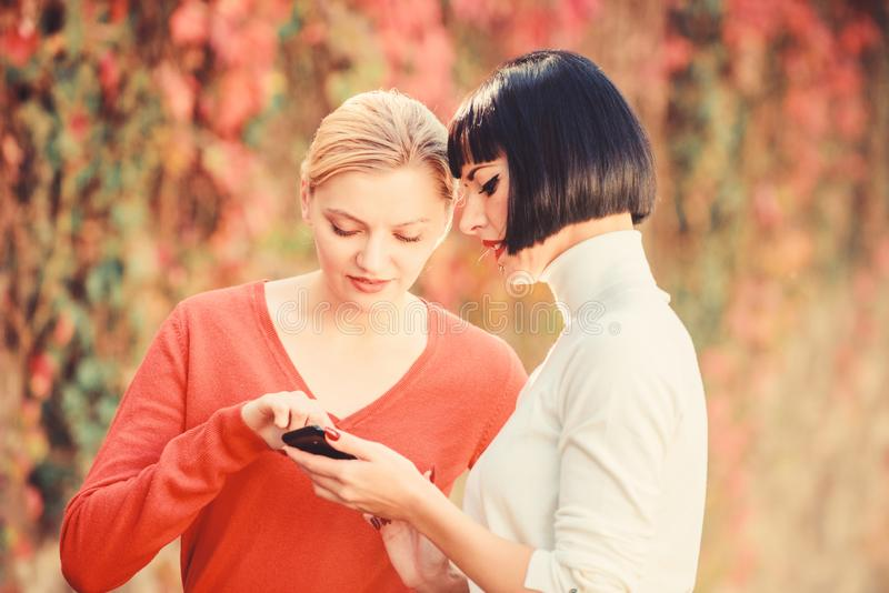 Social networks concept. Sharing link. Buy online. Modern technology. Surfing internet. Communicating online. Two women stock photo