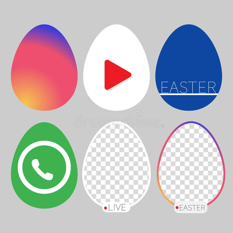 Social networks joining easter celebration six eggs royalty free illustration