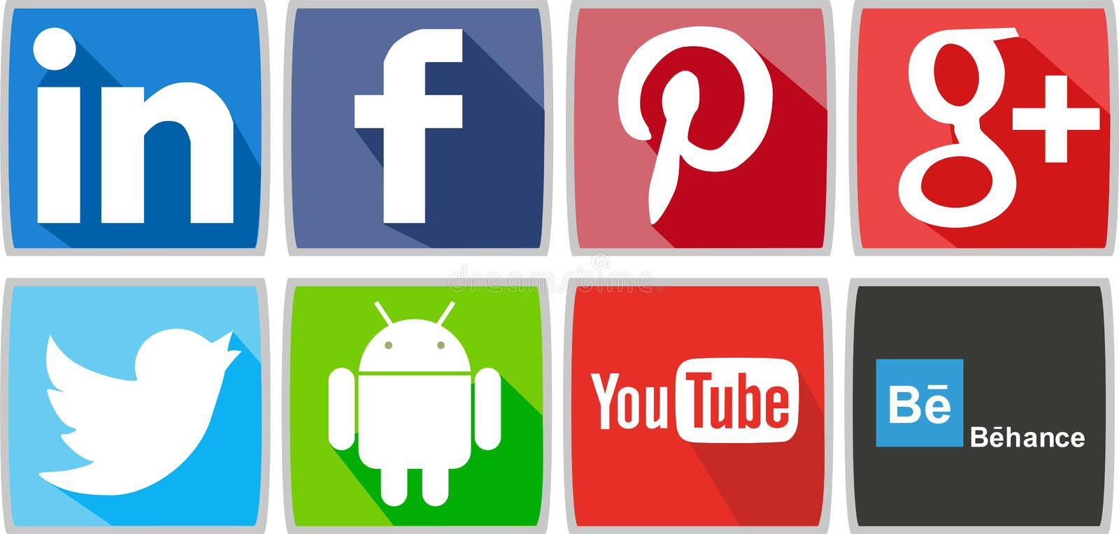 Social networks or social media icons for computer or for phone stock illustration