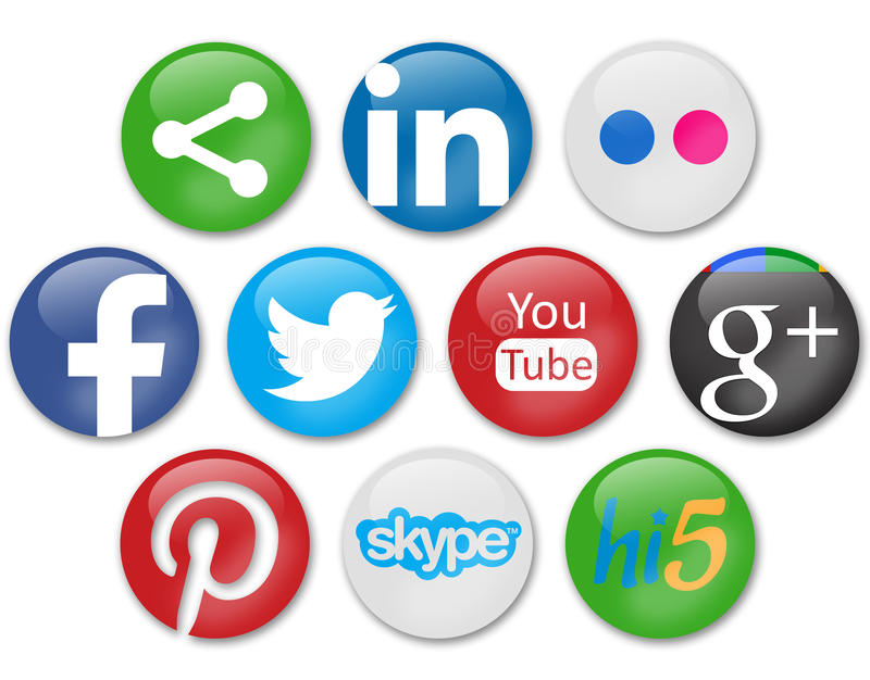 Social networks. Social network icons in white background