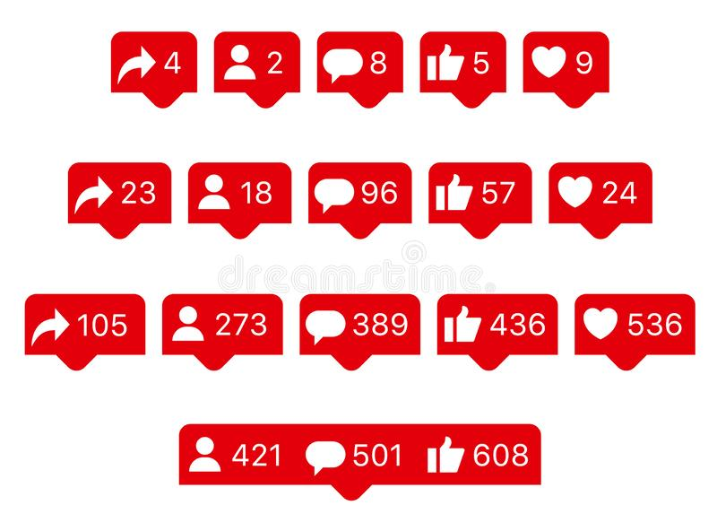 Social Networks Rating Symbols. Share, Repost, Follower, Comment, Like, Thumb Up, Heart. Set Flat Vector Icons Bubbles stock photography