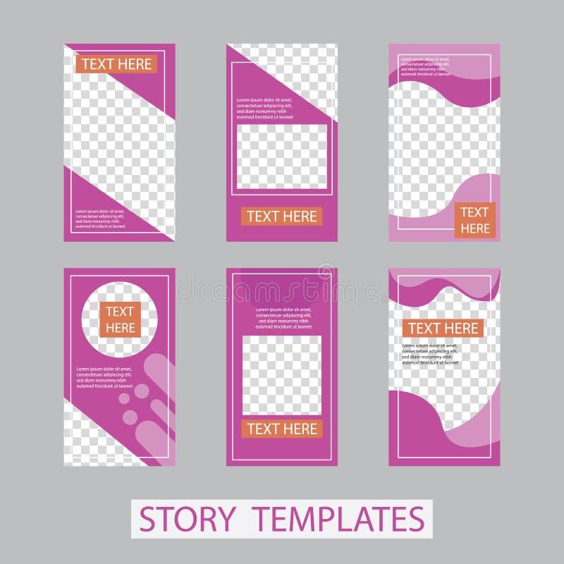 social networks stories design, vertical banner or flyer templates. Set of minimalistic stories for social media stock illustration