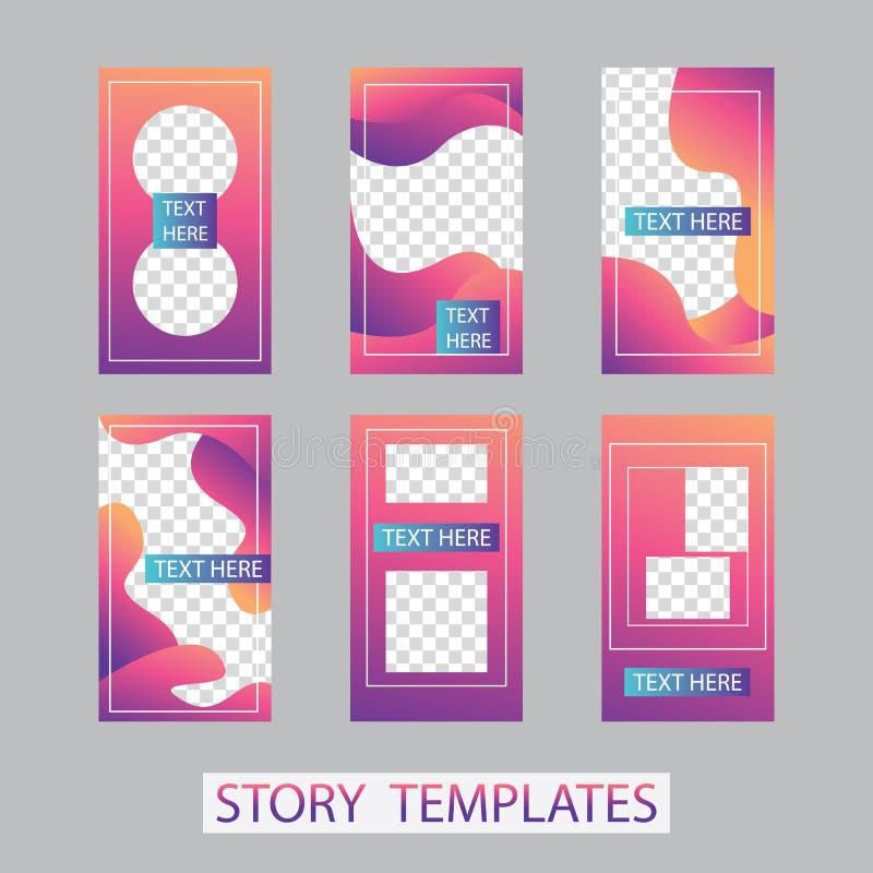 Social networks stories design, vertical banner or flyer templates. Set of minimalistic stories for social media.  royalty free illustration