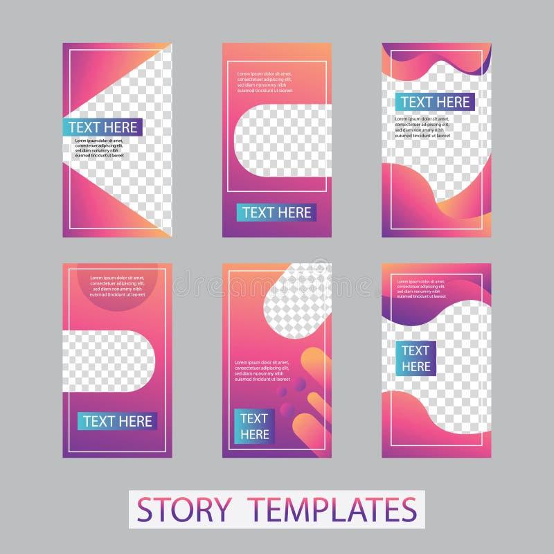 Social networks stories design, vertical banner or flyer templates. Set of minimalistic stories for social media.  stock illustration