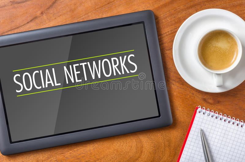 Social Networks. Tablet on a desk - Social Networks royalty free stock images