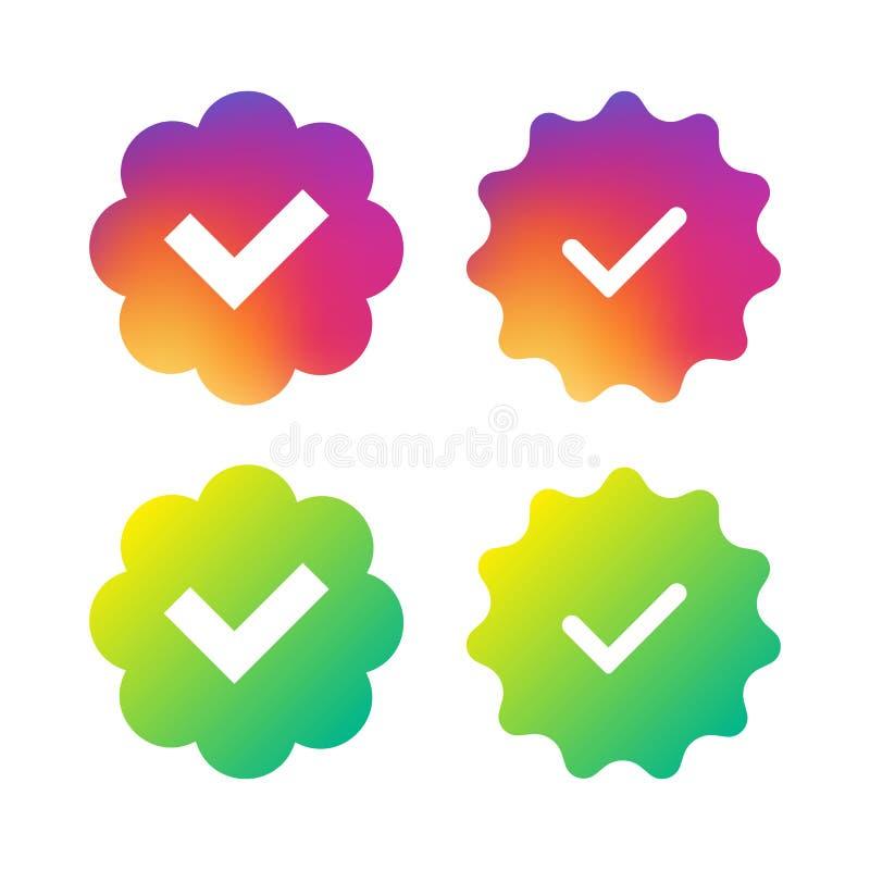 Social-networks-verified-badges-2 illustration stock