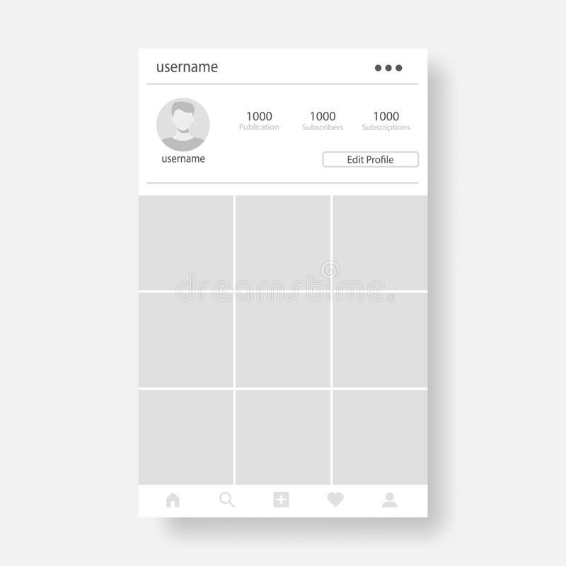 Social page profile web interface. Concept in flat design vector illustration. Social network interface frame with flat icons isolated on gray background royalty free illustration