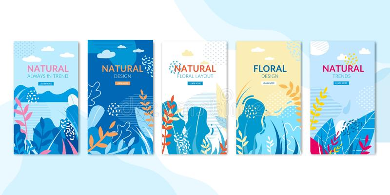 Social Pages Set with Natural and Floral Design stock illustration