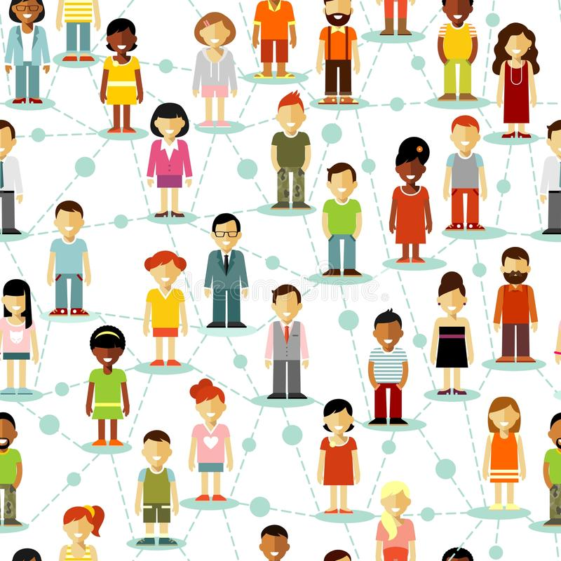 Social people communication network seamless background. Seamless pattern social network concept of people communication in flat style stock illustration