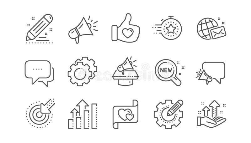 Social projektlinje symboler f?r m?rke Aff?rsstrategi, megafon och representant Linj?r upps?ttning vektor stock illustrationer