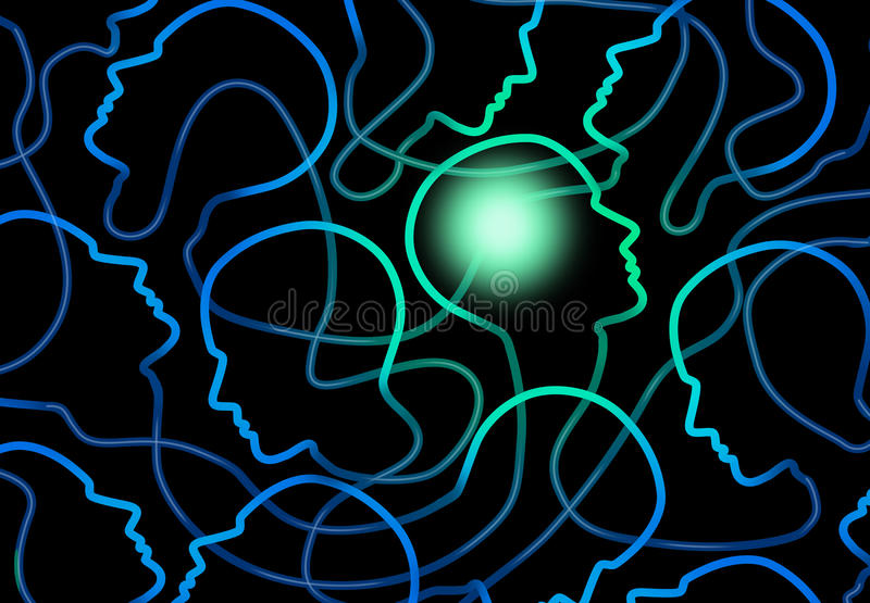 Social Psychology. Concept as a group of connected network of people icons with one individual brain illuminated as a symbol for sociology and group interaction vector illustration
