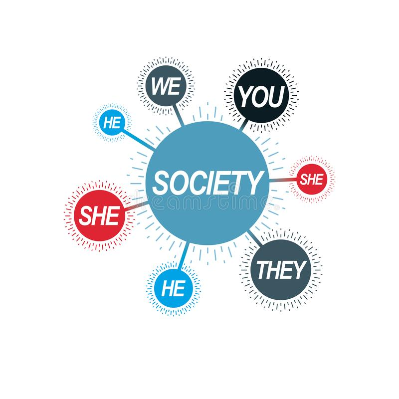 Social Relations conceptual logo, unique vector symbol. Society and Person. Social Relations conceptual logo, unique vector symbol. Society and Person, social royalty free illustration