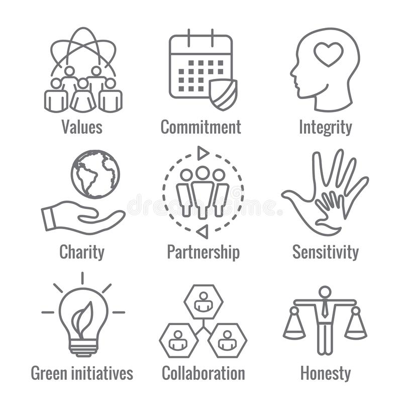 Social Responsibility Outline Icon Set with Honesty, integrity, vector illustration