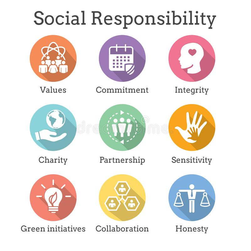 Social Responsibility Solid Icon Set w Honesty, integrity, & col vector illustration