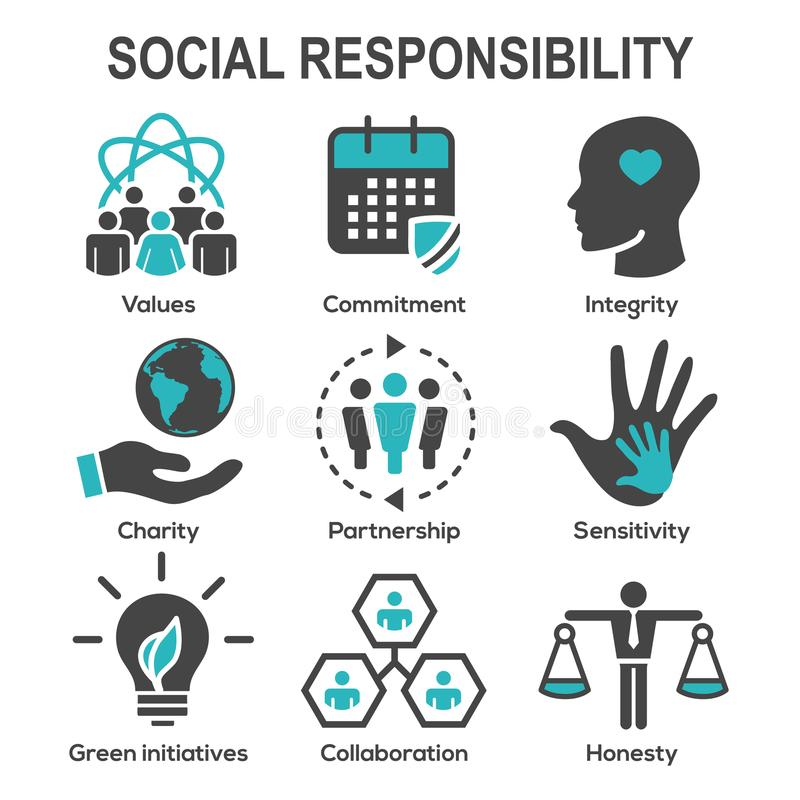 Social Responsibility Solid Icon Set w Honesty, integrity, & col stock illustration