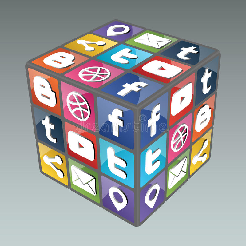 Social Rubik Cube 3.0. Famous cube made from social icons.This image have also .eps file. You will need a vector editor to use this file (such as Adobe stock illustration