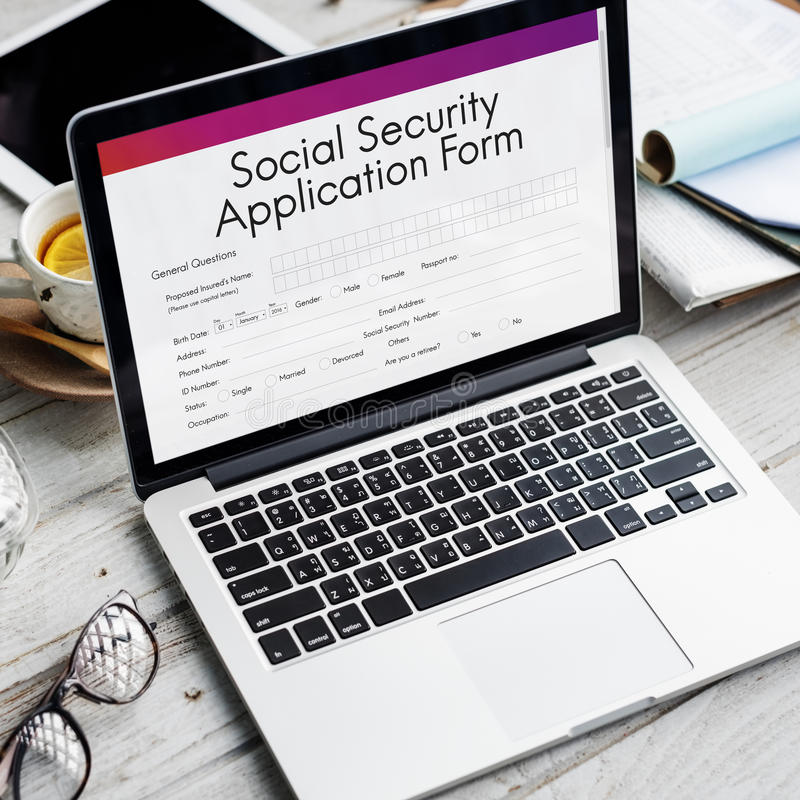 Social Security Application Form Insurance Pension Concept Stock