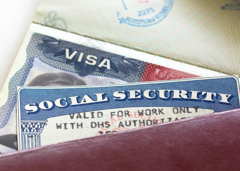 Social Security Card. American Visa and Social Security Card Valid for work only with DHS authorisation royalty free stock photos