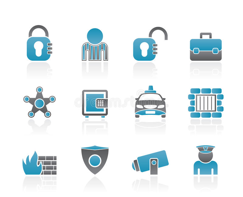 Social security and police icons royalty free illustration