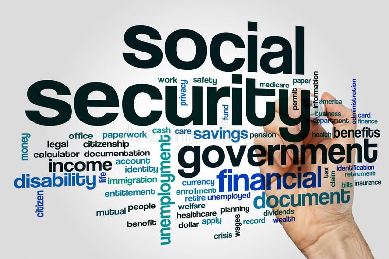 Social security word cloud royalty free stock image