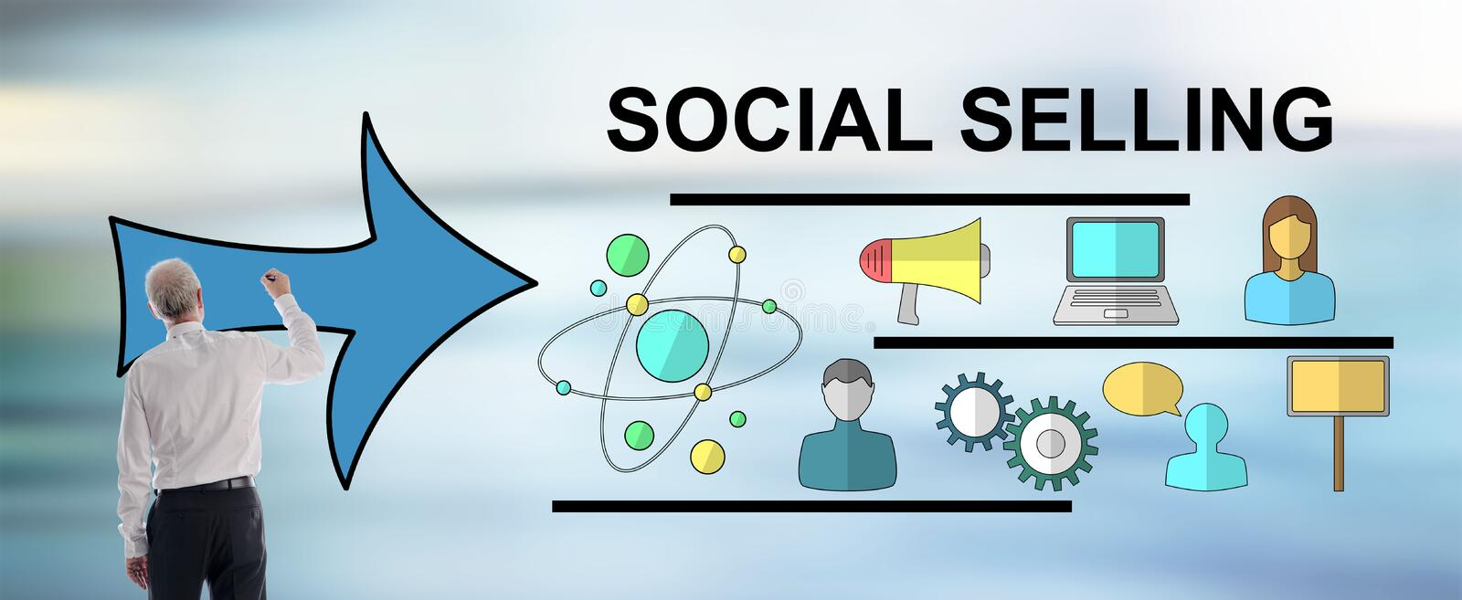 Social selling concept drawn by a man royalty free stock photos