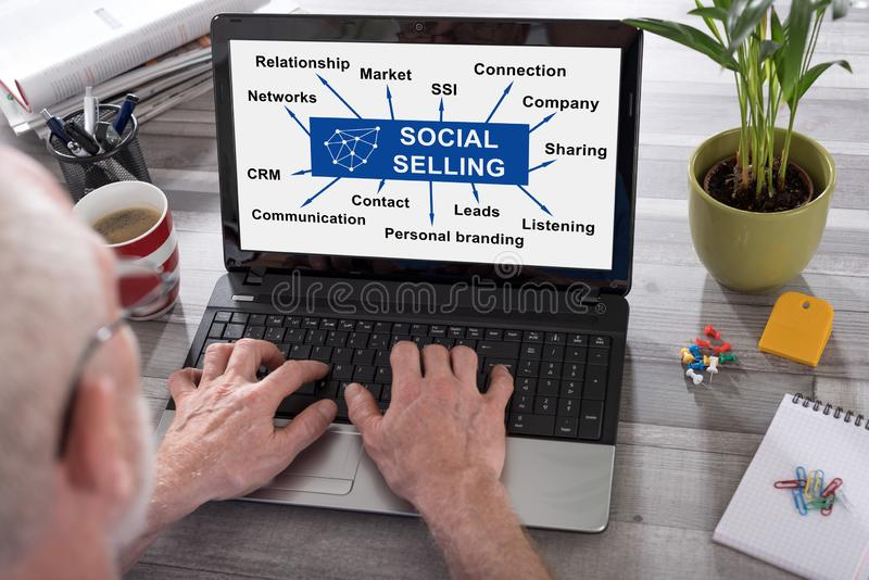 Social selling concept on a laptop screen royalty free stock photo