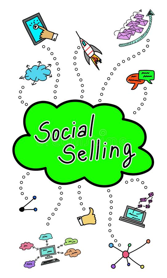 Social selling concept on white background stock illustration