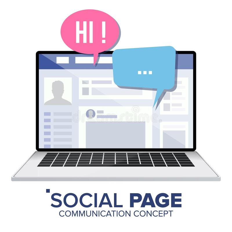 Social sida på bärbar datorvektor bubbles mer mitt portföljsetsanförande Socialt massmediaprofilkonto Isolerad plan illustration stock illustrationer