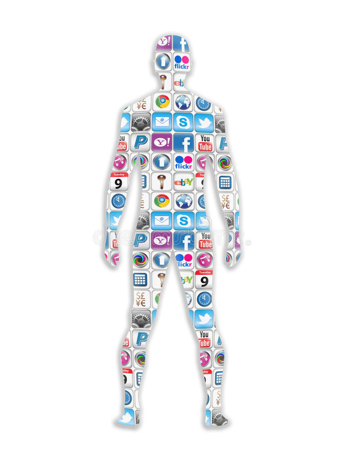 Social Site Apps Man. With the growing use of apps and social networks they have come to be known as a symbol for the way this generation communicate with one vector illustration
