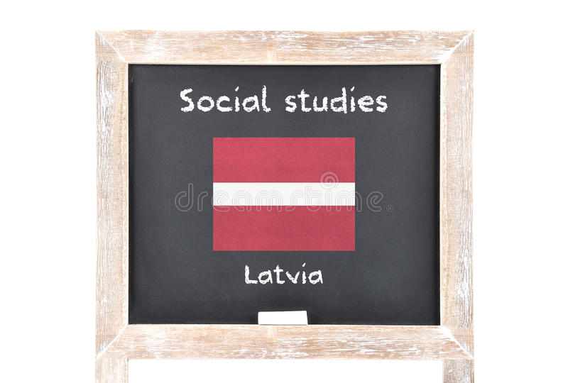 Social studies with flag on board. Colorful and crisp image of social studies with flag on board royalty free stock photos