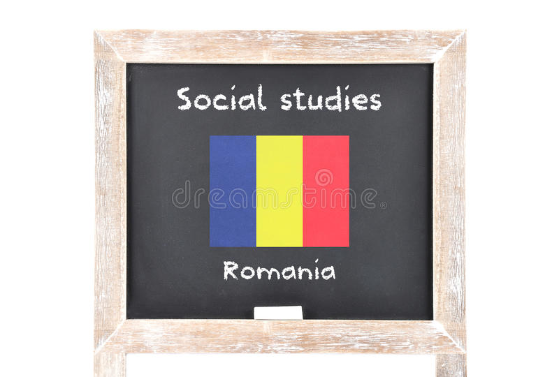 Social studies with flag on board. Colorful and crisp image of social studies with flag on board stock image