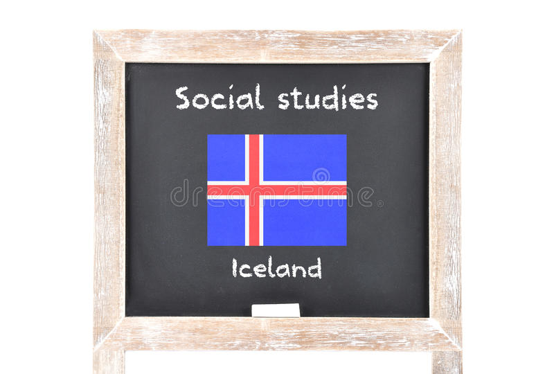 Social studies with flag on board. Colorful and crisp image of social studies with flag on board royalty free stock photography
