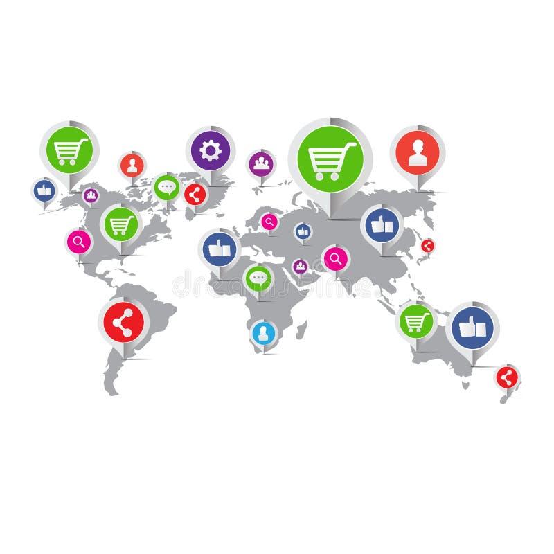 Social symbol för nätverksmarknadsföringsbegrepp - vektorillustration royaltyfri illustrationer