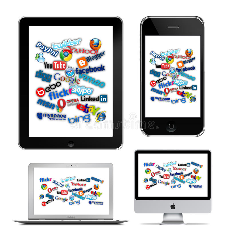 Social technology on Apple. Social and internet technology on Apple iPad, iPhone, MacBook Air and iMac