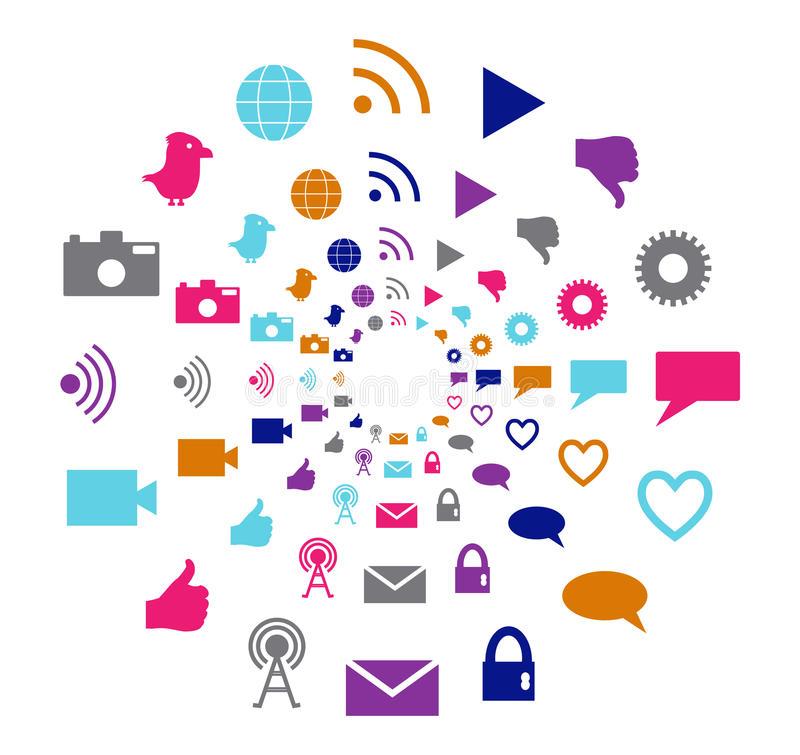 Social Technology And Media Motion Circle In Bright Colors Stock Image