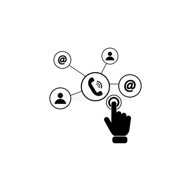 Social technology network on touch screen icon. Element of touch screen technology icon. Premium quality graphic design icon. Sign. S and symbols collection icon royalty free illustration