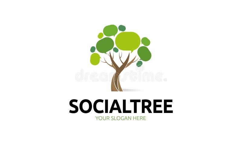 Social trädlogo royaltyfri illustrationer