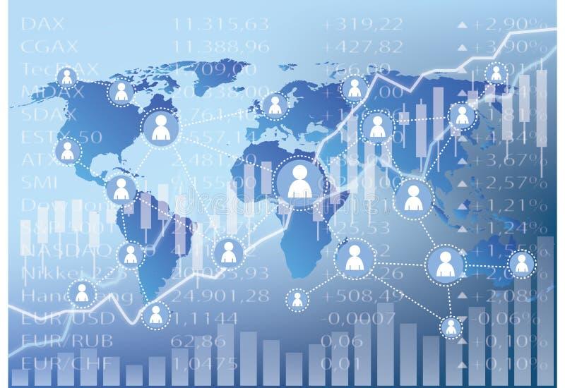 Social trading illustration - stock market charts vector illustration