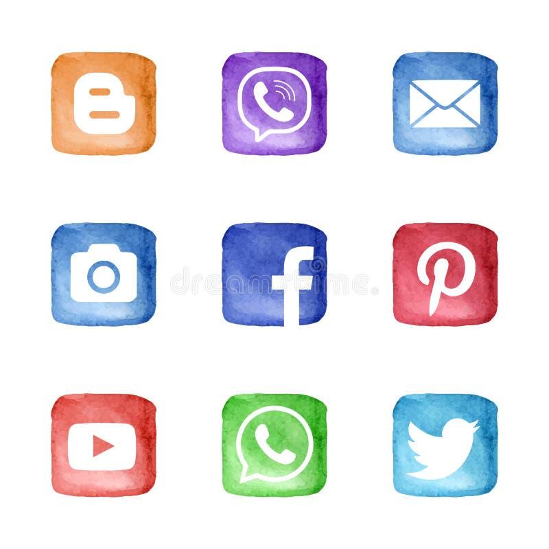 Social uppsättning för massmedianätverkssymboler stock illustrationer