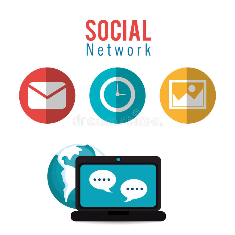 Social värld för dialog för nätverksdator stock illustrationer