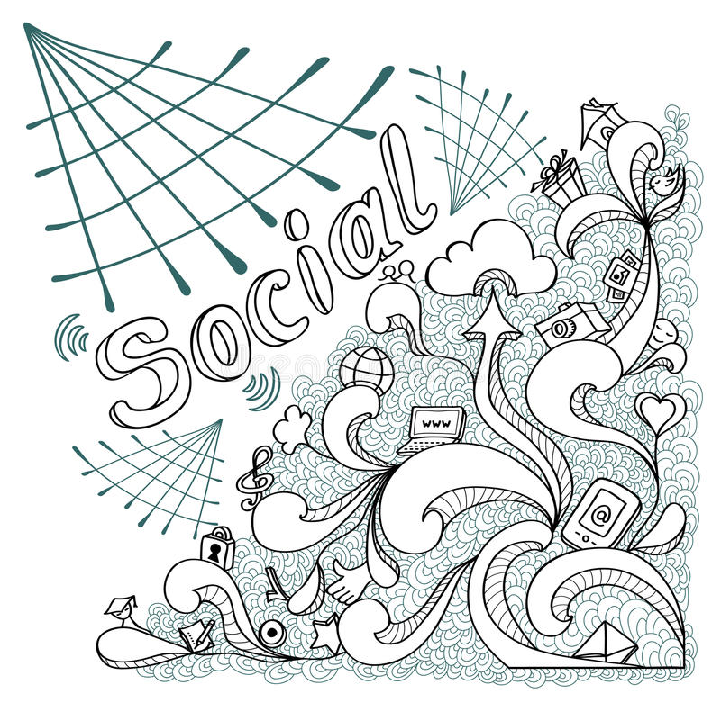 Social webs in doodle style on white background. For website banners and other things vector illustration