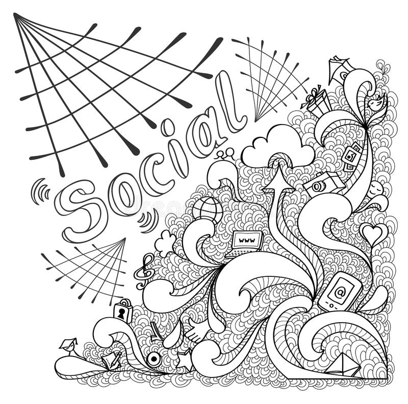 Social webs in doodle style on white for website banners and other things or for coloring page. Social webs in doodle style on white background for website royalty free illustration