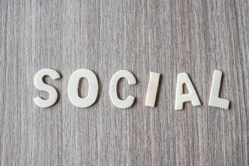 SOCIAL word of wooden alphabet letters. Business and Idea. Concept royalty free stock photos