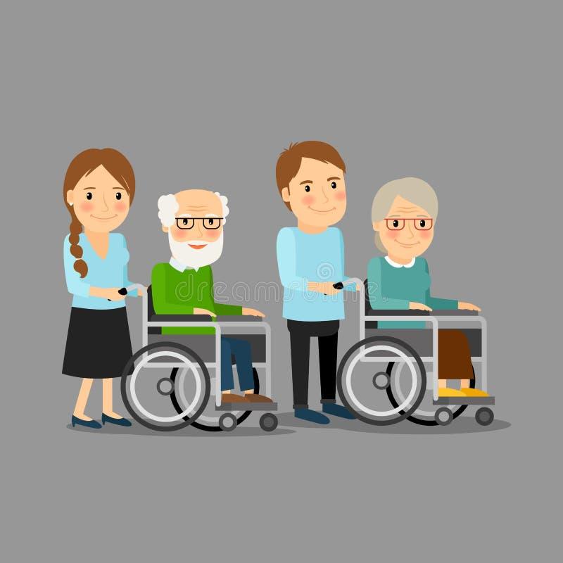 Social worker strolling wheelchair vector illustration